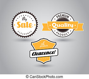 Set of colored badges with big sale sign