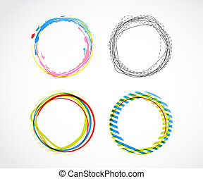 Set of abstract circles vector background.