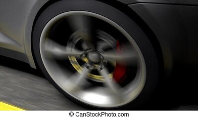 Spinning wheel - Automotive animation, close-up spinning...