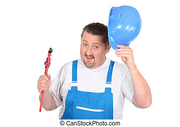 Jolly plumber with a pipe wrench