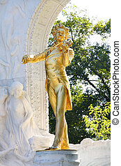 The statue of Johann Strauss in Vienna, Austria - The statue...