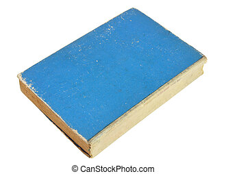 old blue book isolated on a white background with clipping path