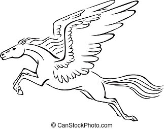 Pegasus - Black and white line art image of a winged horse...