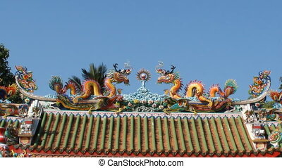 Chinese golden dragon on roof - Two Chinese style golden...