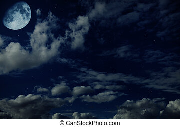 noche, azul, nublado, cielo, estrellas, luna