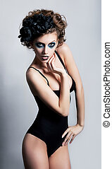 Sexiness - pretty female body. Bright make up