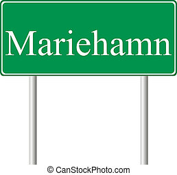 Mariehamn green road sign
