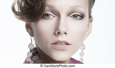 Sexy aristocratic female in earrings - beauty portrait -...