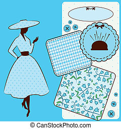 Vintage sewing elements with woman's silhouette