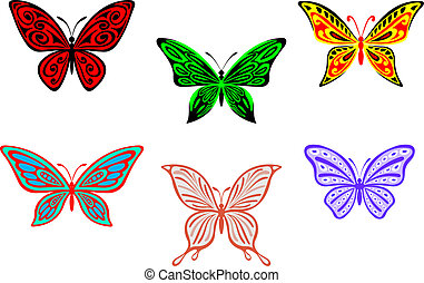Set of colorful butterflies isolated on white background for...