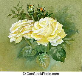 Yellow roses, background, yellow, white, beauty, blossom
