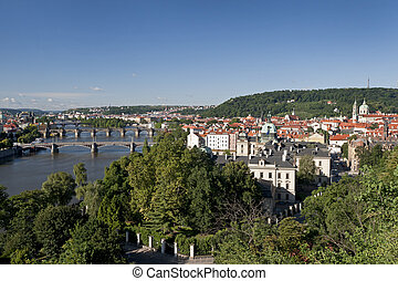 Prague - panoramic view with Vltava River Lesser Town and...
