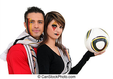 Couple supporting German football team