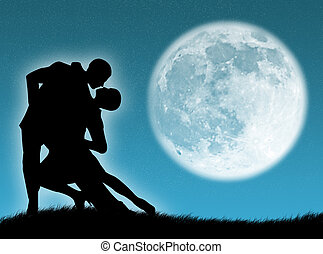 Dance in the moon - Couple dancing a tango in the moonlight