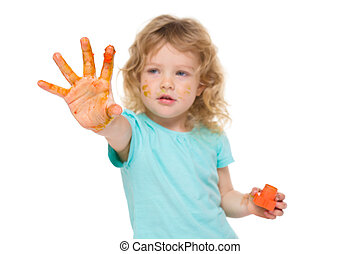 Happy child with painted hand
