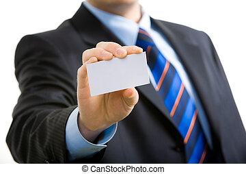 Presenting visiting card - Businessman�s hand showing...