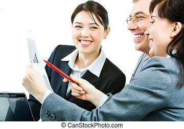 Sharing working ideas - Portrait of businesswoman with paper...