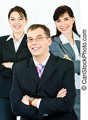 Strong business leader - Vertical photo of business team...