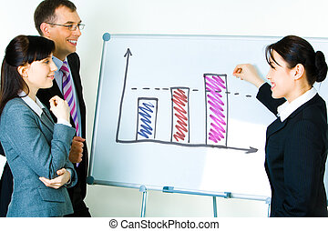 Presentation - Photo of young businesswoman showing...