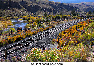 Train track in Colorado - Train track through rocky...
