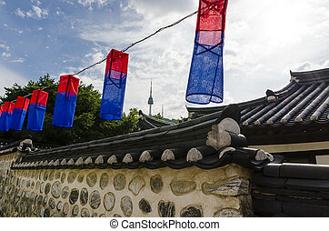 korea traditional blue red lantern - Namsan Hanok village...