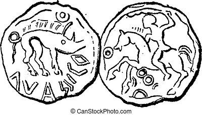 Ancien, celtique, monnaie, vendange, gravure