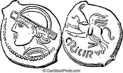 Ancien, bronze, monnaie, vendange, gravure