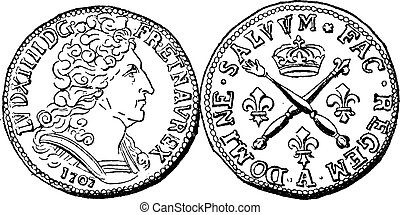 Coin Currency, Louis XIV of France, vintage engraving - Coin...