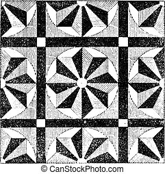 Mosaic, vintage engraving - Mosaic, showing repeating...