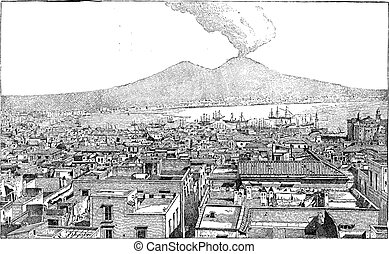 City of Naples, in Campania, Italy, vintage engraving - City...