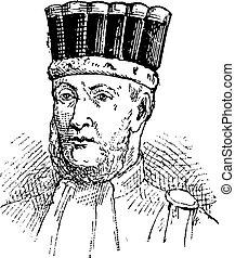 Edouard Adolphe Casimir Joseph Mortier, vintage engraving -...