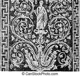 Mosaic, in the Mausoleum of Galla Placidia in Ravenna, Italy, vintage engraving