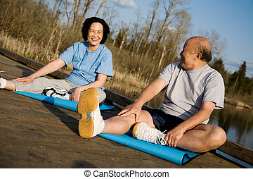 Asian senior couple exercise - A senior asian couple...