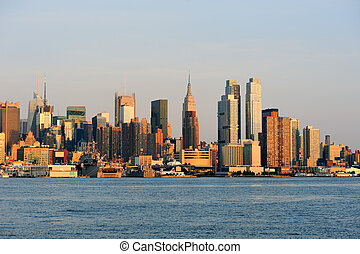 Manhattan dusk - New York City sunset panorama with...