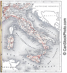 Topographical Map of Modern Italy, vintage engraving -...