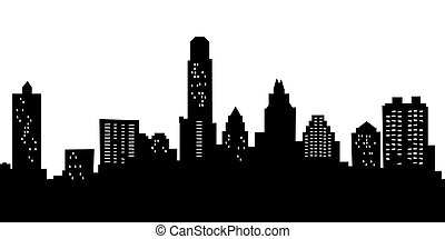 Cartoon Austin - Cartoon skyline silhouette of the city of...