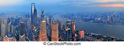 Shanghai aerial at sunset - Shanghai aerial view with urban...