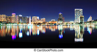 Orlando panorama - Orlando downtown skyline panorama over...