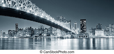 New York City night panorama - Queensboro Bridge over New...