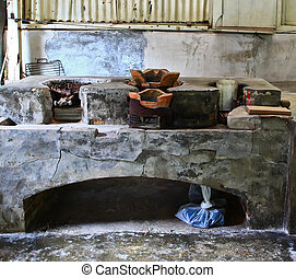 The old fireplace.