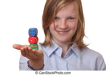 Girl with dices - Beautiful girl with gambling dices on...