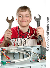 Repair your computer. Troubleshooting with a spanner.
