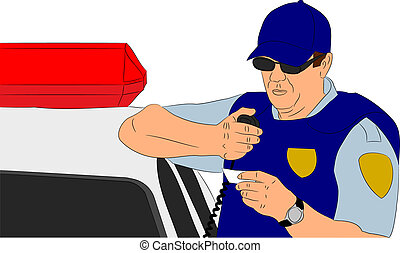 Policeman Checking Identification vector