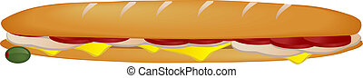 Sub sandwich - Illustration of submarine sandwich with ham...