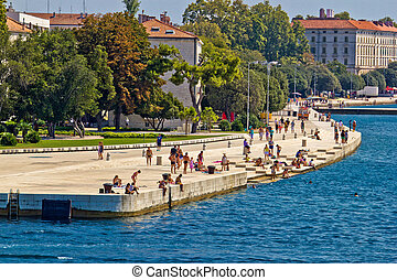 ZADAR, CROATIA - AUGUST 24th 2012: Zadar sea organs . Many...