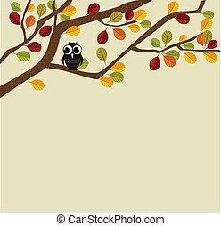 Owl on an autumn branch