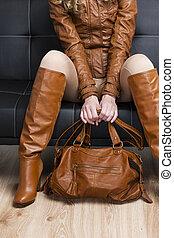 detalle, Sentado, mujer, marrón, ropa, tenencia,...