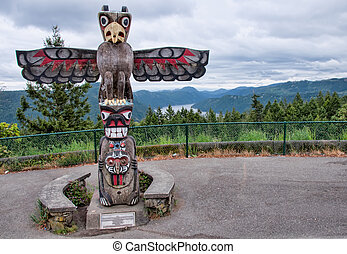 Totem Pole At Top of Mountain With View - Large totum pole...