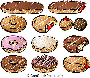 Donut illustration - Various donut pastries rough sketchy...