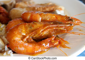 Spicy prawns - Whole cooked spicy prawns traditional asian...